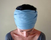 Powder Blue Head Scarf - All In One Womens Bow Tie, Neck Bow - Cotton Jersey Hair Wrap, Head Wrap, Headband, Turban
