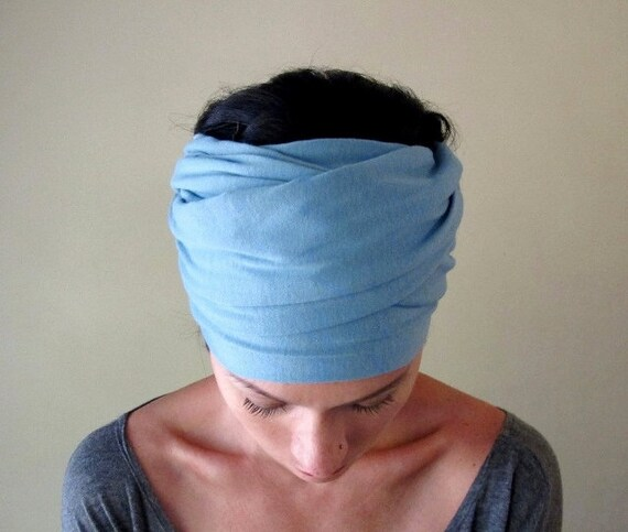 Powder Blue Head Scarf - All In One Womens Bow Tie, Neck Bow - Cotton Jersey Hair Wrap, Head Wrap, Headband, Turban