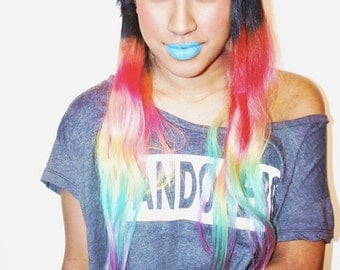 Rainbow Dipped Dyed Hair, Human Hair Extensions. Colored Hair Extension Clip, Hair Wefts, Clip in Hair, Dip Dyed Hair Tips