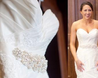 Pearl Sash, Bridal Sash, Crystal Sash, Pearl and Crystal Sash, Ivory Sash, Handmade Sash, Wedding Sash, 3 Inch Sash, Bridal Belt, Custom