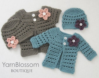 CROCHET PATTERN - Mini Miss Cardigan & Beanie - baby sweater baby girl hat preemie newborn crochet tutorial PDF download
