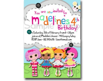 Printable Lalaloopsy inspired Birthday Invitation - Print it yourself - Digital Invitation