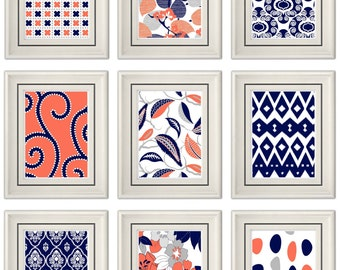Set of Three Modern Coral/Navy Wall Art -Any (3) 8x11 Print Set - Home Decor (Unframed)