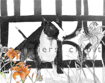 Black and White Bull Terrier Print Half Timbered Terrier
