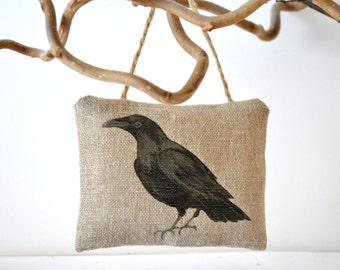 Crow raven cushion. Rustic decor ornament . Halloween decoration