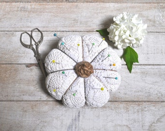 Rustic home ornament or Pincushion. French style. Old fabric recycled. Shabby chic