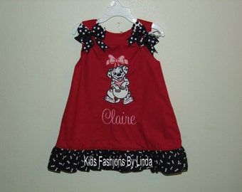 Red Aline Dress with Bones Ruffles  with Dalmation Design-PERSONALIZATION INCLUDED