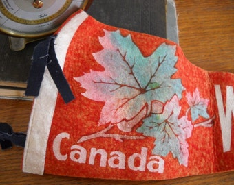 1940's Canadian Red Felt Souvenir Pennant - White Horse
