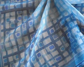 Vintage Vera Sheer Blue Geometric Scarf