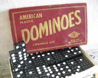 Vintage Dominoes - Hal Sam American Plastic Double Six