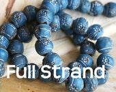 CLEARANCE - Half Price - Full Strand Rustic Handmade Terracotta Blue Beads 10mm beads  TCBSTR-BL