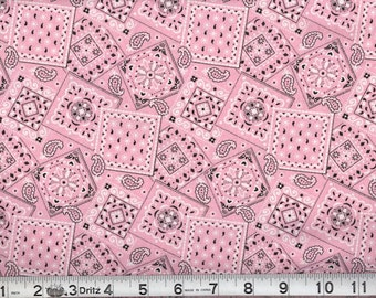 06815 -  Malone Textiles - Blazing  Bandana in bubble gum pink color - 1 yard
