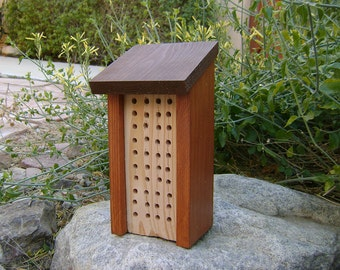 Painted BEE HOUSE, Rust and Brown, Hand Made, Rag- Painted Pine, for Solitary Bees. Ready to Ship