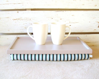 Home office furniture- Laptop Lap Desk or Breakfast serving Tray - Grey, aqua and black Striped