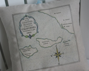 Channel Islands, California, Vintage Map Pillow, Fathers Day, Abundant Haven, Blue, Blue Pillows, Nautical, Beach House, Cottage, Ocean