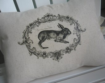Cottage, French Farmhouse, Rabbit, Pillows, Farmhouse Chic, Decorative Pillows, Bunnies, Rabbits, Black and White Pillows, Pillow