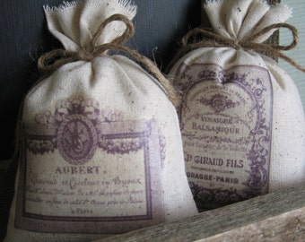 Lavender Sachets, Vintage French Perfume Labels, French Farmhouse, Made In USA, Mom,  Purple, Vintage, Lilac, Lavender, Handmade, Set of Two