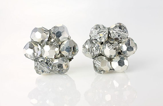 Vintage silver Swarovski crystal Earrings, Comet Argent, ab crystal earrings, wedding bridal earrings, clip on earrings