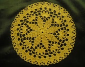 Yellow crochet doily / small doily / lace /  7 inches