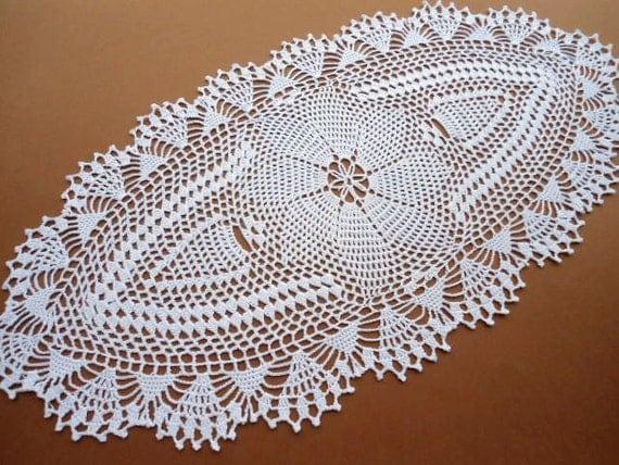 Napperon ovale au crochet nappe dentelle runner blanc - Napperon dentelle crochet ...