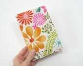 Spring floral notebook with lined or unlined A6 hardcover notebook, orange pink green white, with fabric cover