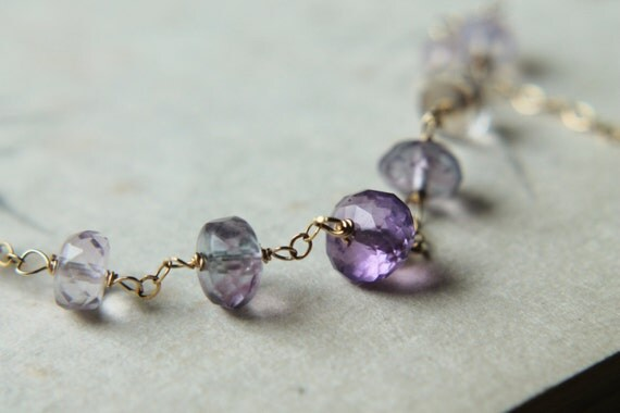 ON HOLD. Amethyst Necklace with 14k Gold. Simple Gemstone Necklace. Purple Strand Necklace. Handmade Gemstone Jewelry.