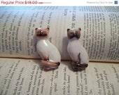 30% off SALE Vtg Porcelain Siamese Cat Pins, Pair, Avon