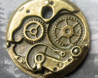 6 PC Lot Steampunk Clock Watch Wheel Gear Antique Bronze Retro Pendant Charm for Jewelry or Crafts