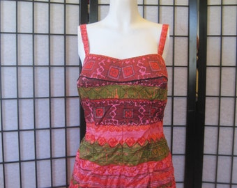 Vintage 1950s 1960s Bathing Suit by Cole of California Pink Red Green Black Atomic Age Hawaii Print Swimwear Large L XL Volup