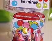 Gumball Love Craft SET Fold over Valentine Card Craft Digital Printable U PRINT- Instant download