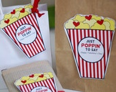 Popcorn Valentine Love Cut outs - Kids  Class Card DIY Digital Printable - Instant download