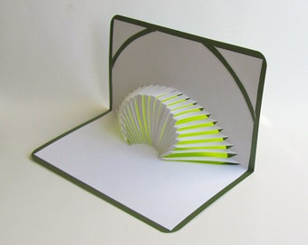3D POP UP CARD of Geometric Volcano Design With Intricate Cuts of Origamic Architecture in Olive Green and White With Light Shines Through