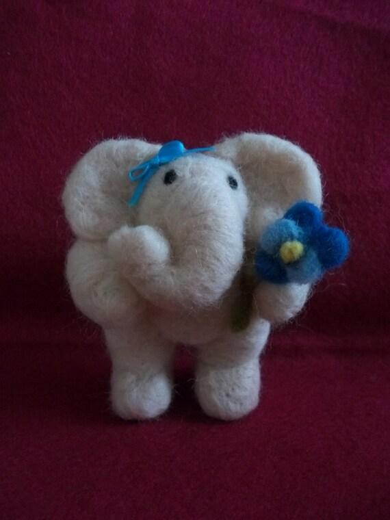 Posey Pink Elephant Felted Figurine