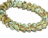 Czech Glass Beads Bell Flowers 9x6 Five Petal Aqua Picasso 20 Pieces  B823