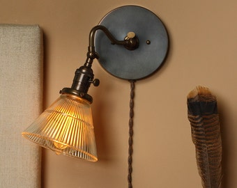 Wall Sconce Lighting - Articulating Reading Light w/ Holophane Style Glass Shade - Hand Finished in Oil Rubbed Bronze