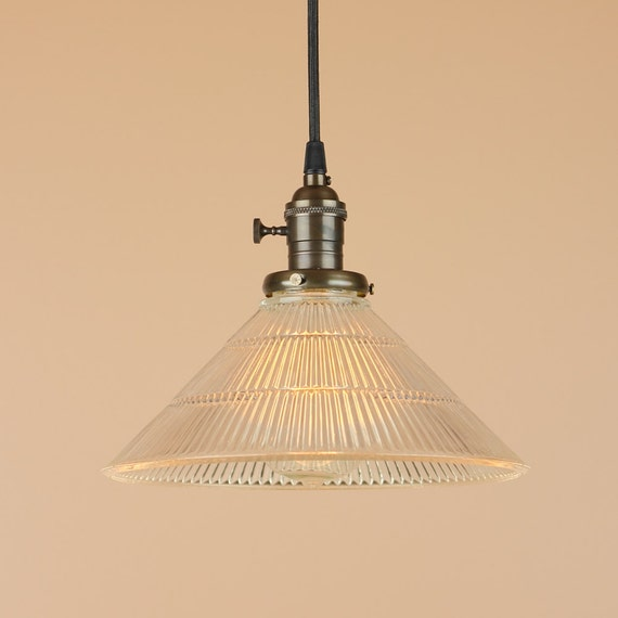 Pendant Lighting w/ Holophane Style Glass Shade - Hand Finished in Oil Rubbed Bronze - Kitchen Decor