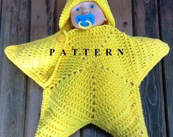 Star Cocoon - Star Snuggy - Baby Star Snuggy -  Baby star Cocoon - Coccoon - Newborn to 2 months - Crochet Star Pattern -  Crochet Pattern