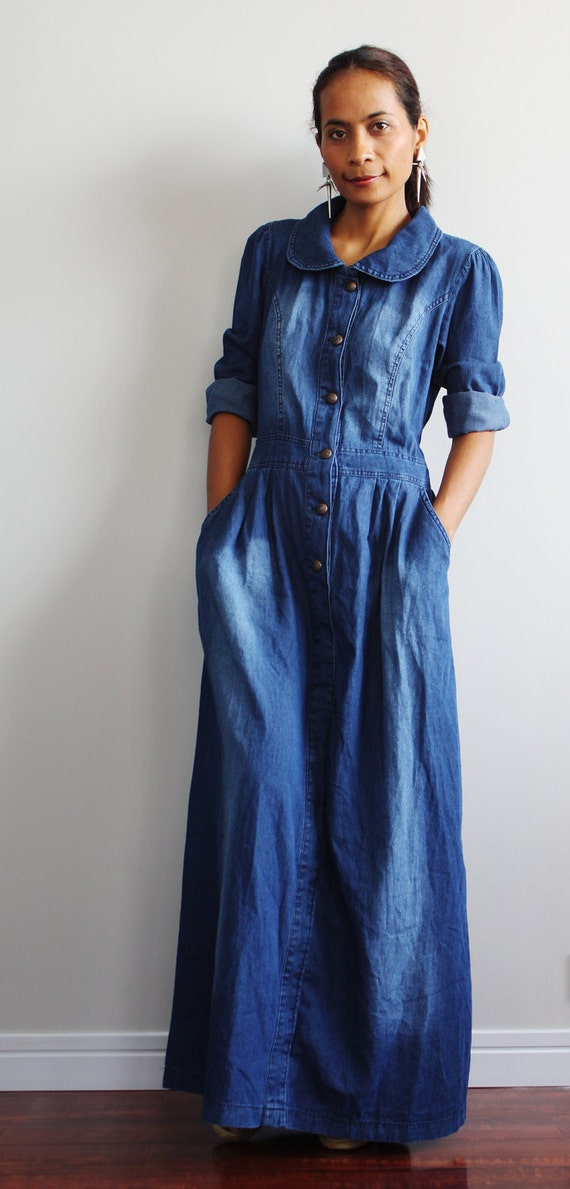 Wonderful Women Dress Long Sleeve Denim Jeans Dresses Blue Vestido Jeans Dress