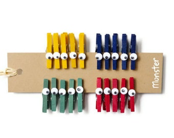 READY TO SHIP | Monster mini clothespins 20 cute eye zombie peg gift embellishments in red, green, yellow, and blue