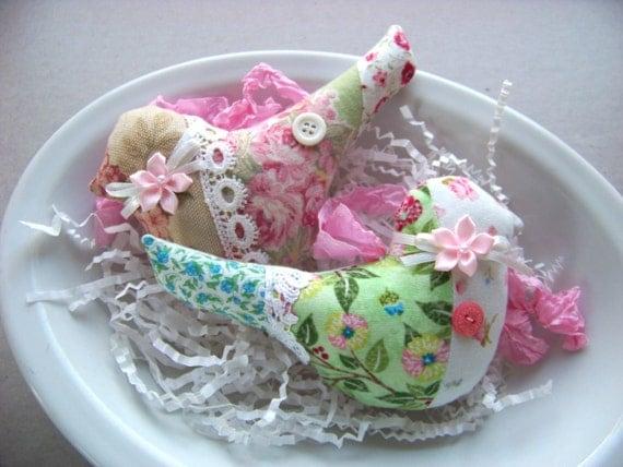 2 Fabric Bird Ornaments / Bird Pillows /Hand Sewn Hanging Decorations / Christmas Ornament Set