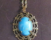 Turquoise Magnesite and Antique Brass Necklace