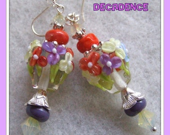 Lampwork Floral Bead Earrings,Glass Earrings,Colorful Earrings,White Lavender Orange Earrings,Flower Earrings - DECADENCE