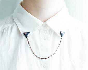 Navy blue triangle collar brooches, collar chain, unique accessory