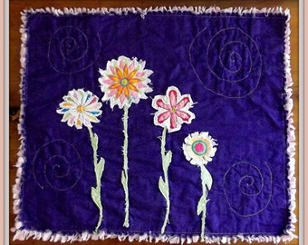 "Applique Mini Quilt, ""Fussy Flowers"""