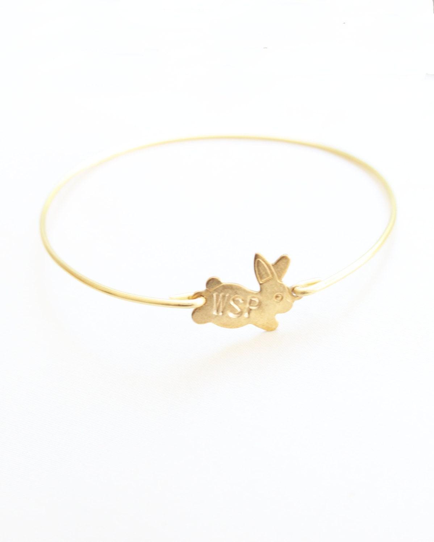 Personalized Bracelet, Custom Bunny Initial Bracelet, New Mother Bracelet, Personalized Jewelry, New Mom Gift, Initial Monogram Bracelet