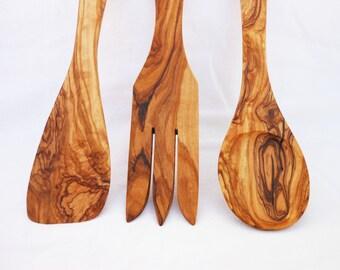 Olive Wood Medium Utensils 9.8 inches:  1 Spoon, 1 Fork, 1 Spatula, Wedding gift
