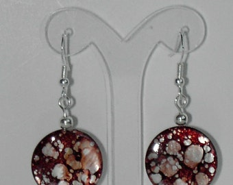 Brown mother of pearl shell earrings  (#388)
