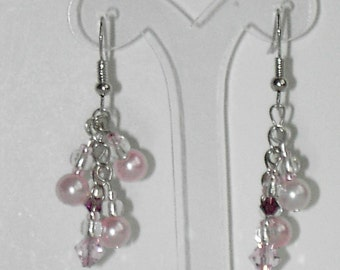 Pink Swarovski crystal pearl  earrings  (#414)