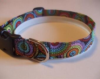 Handmade Cotton Dog Collar - Colorful Circles on Black