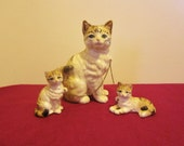Vintage Bone China Brown Tabby Cat with 2 Kittens on Chains, Made in Japan